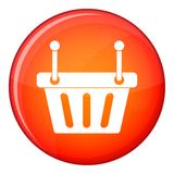 Shopping cart icon, flat style. Shopping cart icon in red circle isolated on white background vector illustration Stock Image