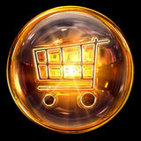 Shopping cart icon glass Royalty Free Stock Image