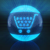 Shopping cart icon. On globe formed by binary code, 3d render Royalty Free Stock Photo