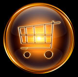 Shopping cart icon gold Royalty Free Stock Images