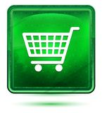 Shopping cart icon neon light green square button. Shopping cart icon isolated on neon light green square button royalty free illustration