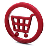 Shopping cart icon red 3d Royalty Free Stock Image