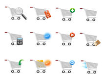 Shopping cart icon set Royalty Free Stock Photography