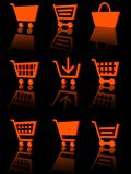 Shopping cart icon set 3d. Three-dimensional icons of the shopping cart. black background with reflection Stock Photo