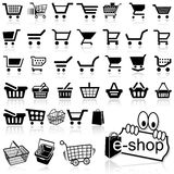 Shopping Cart Icon. Set of Black Icons, Vector Illustration Royalty Free Stock Photos