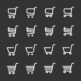 Shopping cart icon set, line version, vector eps10 Stock Images