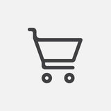 Shopping cart icon, vector logo, linear pictogram isolated on white, pixel perfect illustration. Royalty Free Stock Image