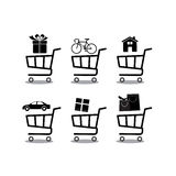 Shopping cart Icon Vector. Shopping cart Icon JPEG. Car,home,bag,box,bicycle,gift  in basket shopping set icon Stock Images
