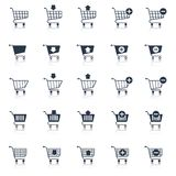 Shopping cart icons black Stock Photography