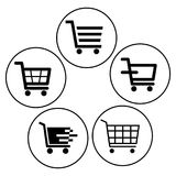 Shopping cart icons black and white. Buttons on white background - vector illustration Royalty Free Stock Photo
