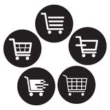Shopping cart icons black and white. Buttons on white background - vector illustration Stock Images