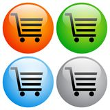 Shopping cart icons buttons on white Stock Image