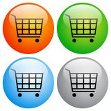 Shopping cart icons buttons on white Stock Photo