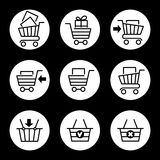 Shopping cart icons in circles. Shopping cart or store trolley line icons  on white circles. Vector illustration Stock Photography