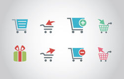 Shopping Cart Icons with Flat Style Stock Photo