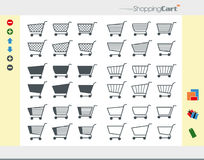 36 Shopping Cart Icons. Isolated Shopping Cart Icons on white Background with additional Symbols (Package, add, delete, arrow, gift, tag Royalty Free Stock Images