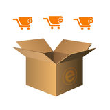 Shopping cart icons orange. Vector illustration of shopping cart icons over white Royalty Free Stock Photos