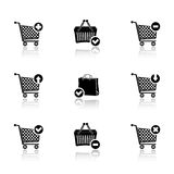 Shopping cart icons with reflection Royalty Free Stock Images