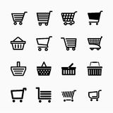 Shopping cart icons set, Add to cart website symbols Stock Photo