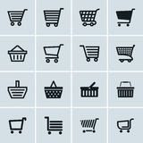 Shopping cart icons set, Add to cart website symbols Royalty Free Stock Images