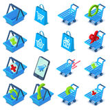 Shopping cart icons set, isometric style. Shopping cart icons set. Isometric illustration of 16 shopping cart vector icons for web Royalty Free Stock Photography