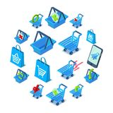 Shopping cart icons set, isometric style. Shopping cart icons set. Isometric illustration of 16 shopping cart vector icons for web Stock Image
