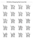 Shopping Cart icons set, Line Thickness icons Royalty Free Stock Image