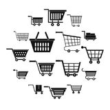 Shopping cart icons set, simple style. Shopping cart icons set. Simple illustration of 16 shopping cart vector icons for web Stock Image