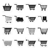 Shopping cart icons set, simple style Stock Images