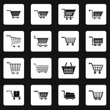 Shopping cart icons set squares vector Royalty Free Stock Images