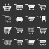 Shopping cart icons set grey vector. Shopping cart icons set vector white isolated on grey background royalty free illustration