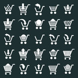 Shopping cart icons vector set, supermarket shopping simplistic Royalty Free Stock Images