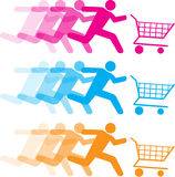 Shopping cart illustrations. Illustration of people figures pushing shopping cart in three colors Stock Photos