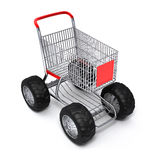 Shopping cart isolated turbo. Shopping cart shop commerce turbo speed Stock Photography