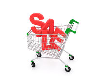 Shopping cart isolated on white, concept of discount Royalty Free Stock Photos