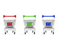 Shopping Cart Isolated On White Stock Photos