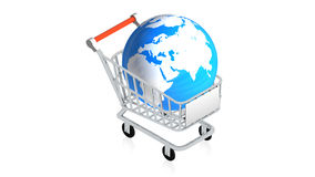 Shopping cart with item Royalty Free Stock Photo