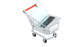 Shopping cart with item Royalty Free Stock Images