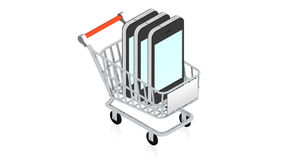 Shopping cart with item Royalty Free Stock Photography
