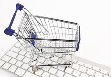 Shopping cart and keyboard Royalty Free Stock Image