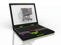 Shopping cart on laptop Stock Images