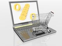 Shopping-cart and laptop Royalty Free Stock Photos
