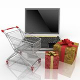 Shopping-cart and laptop Stock Photos