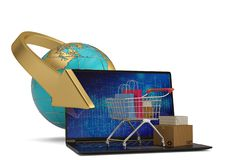 Shopping cart and laptop with globe on white background. 3D illustration. stock photography