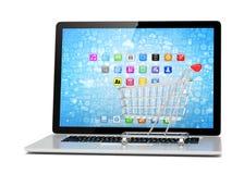 Shopping cart on laptop Royalty Free Stock Image