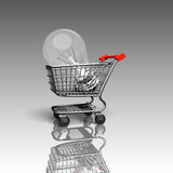 Shopping cart with large light bulb, 3D rendering Stock Photos