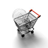 Shopping cart with large light bulb, 3D rendering Royalty Free Stock Images