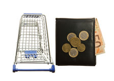 Shopping cart and leather wallet with Euro notes stock images