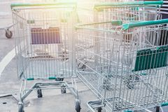 Shopping cart left empty shoping economic household Royalty Free Stock Photography