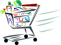Shopping cart. Line art illustrated shopping cart image on isolated white background Royalty Free Stock Photography
